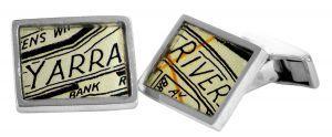 Yarra River vintage street directory cufflinks in sterling silver - $150