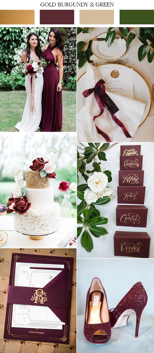 2197 best wedding colors themes inspiration boards images on 2017 trending gold burgundy and green wedding color ideas junglespirit