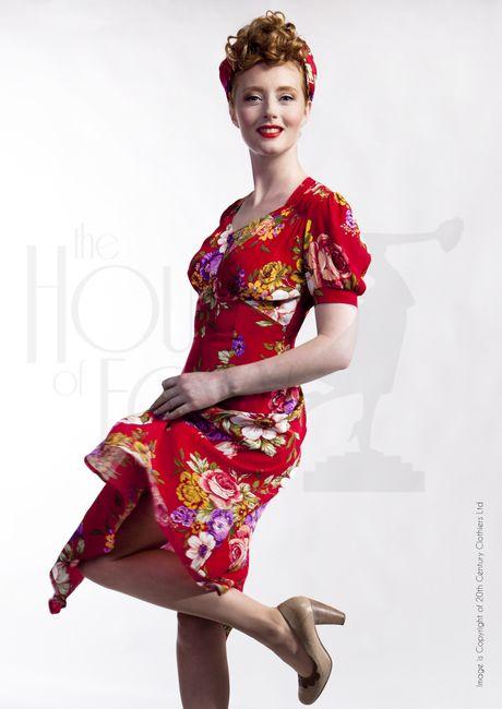1940s Style Dresses and Clothing 1940s Tea Dance Dress - Crimson Dreams £119.00 AT vintagedancer.com