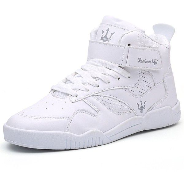 QANSI Men's Fashion High Top Leather Street Sneakers Sports Casual... ($20) ❤ liked on Polyvore featuring men's fashion, men's shoes, men's sneakers, mens black leather high top sneakers, mens high tops, mens sneakers, mens velcro shoes and mens wide width shoes