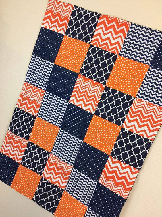 Baby Blanket/Baby Quilt/Orange & Navy by SewSweetBabyDesigns