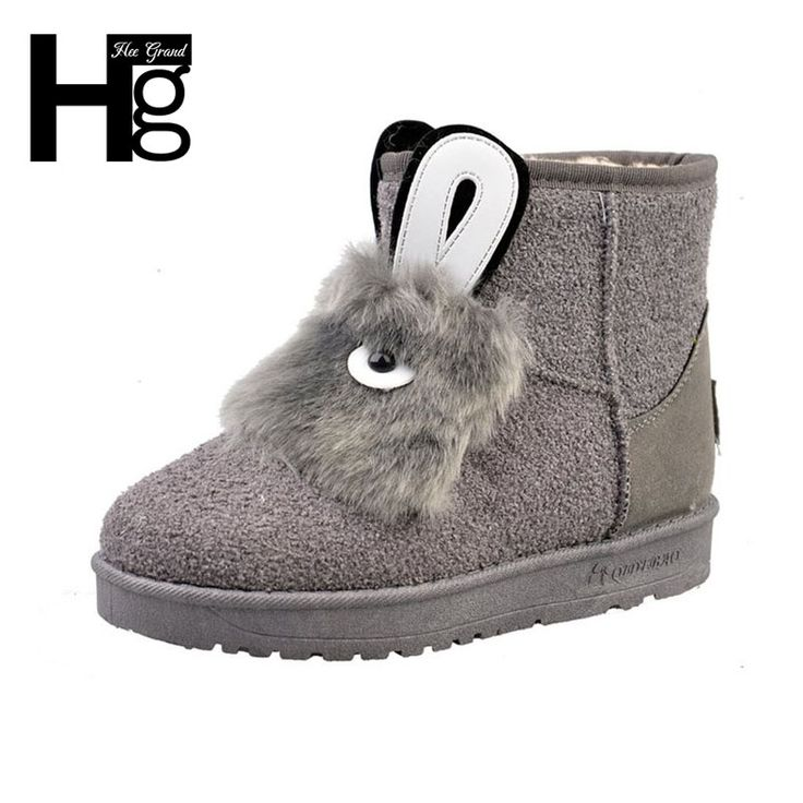 Women's Sweet Rabbit Ears Fleece Lined Flat Pull On Winter Boots Ankle High Snow Booties