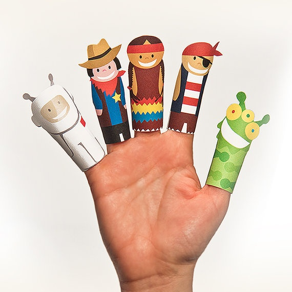 FANTASTIK Paper Finger Puppets  Printable Pdf  DIY Craft by pukaca