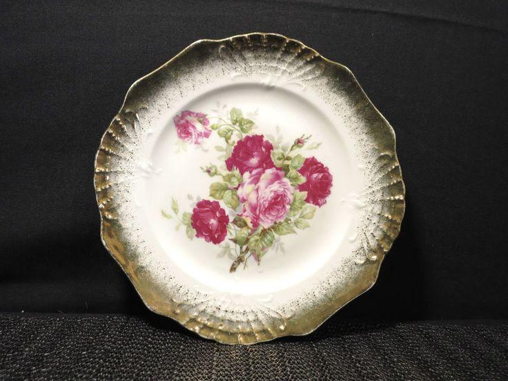 Vintage Roses Salad  Plate Three Crown China Germany 7 3/4  Floral Painted