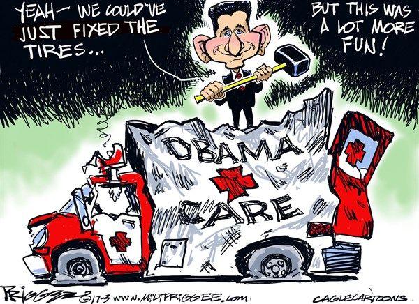 Milt Priggee - www.miltpriggee.com - Trumpcare - English - Paul Ryan, Obamacare, healthcare, ACA, AHCA, Congress, house, GOP, conservatives, Freedom Caucus, republicans,