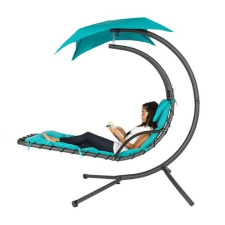 Hanging Chaise Lounger Chair Arc Stand Air Porch Swing Hammock Chair Canopy Teal - Walmart.com