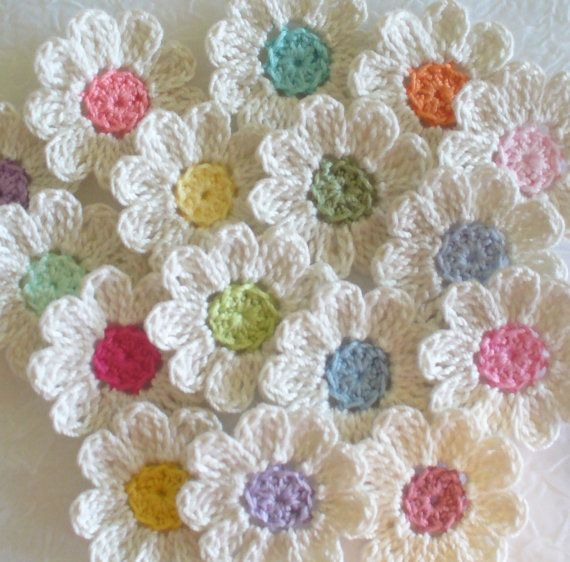 Apliques de flores de ganchillo set de 16 hecho por IreneStitches
