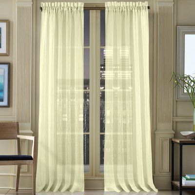 """Mercer41™ Ansel Solid Sheer Rod Pocket Single Curtain Panel Size: 50"""" W x 108"""" L, Color: Natural"""