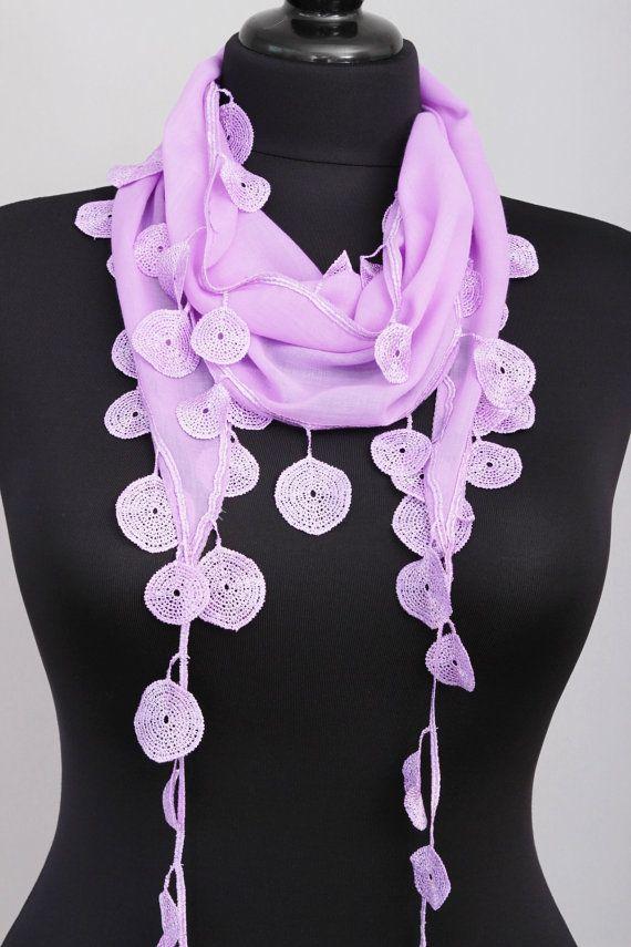 Sciarpa con frange di pizzo, triangolo pizzo sciarpa, sciarpa della guipure, fiorito, lillà di pianura, sciarpa, donna