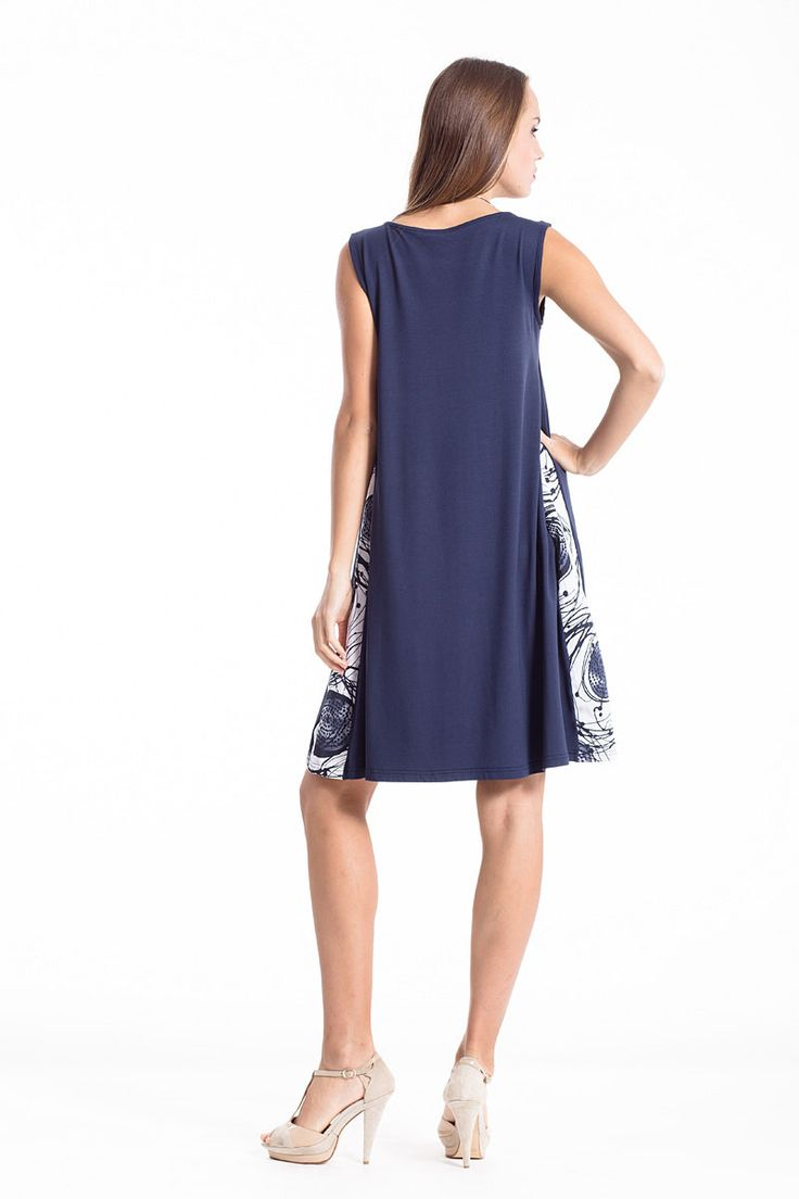 Pleat dress in navy blue shade and confortable sack design. Shop yours for perfect office looks, in the link below.