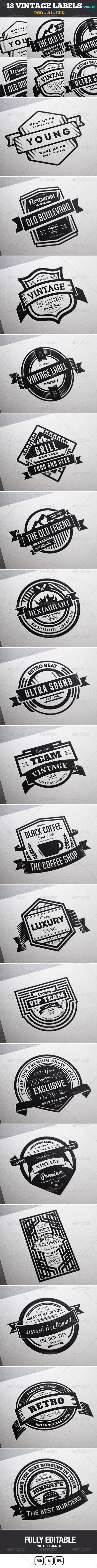 18 Vintage Labels & Badges / Logos / Insignias V10 - Badges & Stickers Web Elements