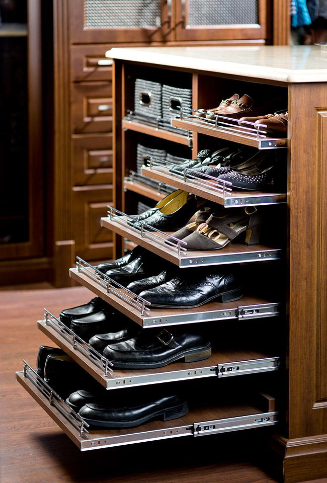 "Maximize small spaces by using a ""shoe shelf"" that pulls out."