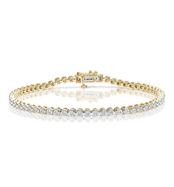 Diamond Tennis Bracelet Rubover Style 1 00ct 9k Gold Bracelets Gold Diamond Sparkly Bracelets Black Diamond Bracelet