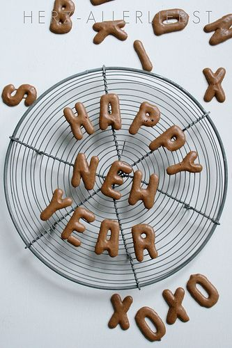 Alphabet Cookies, you could put them on Cupcakes writing Happy New Year...