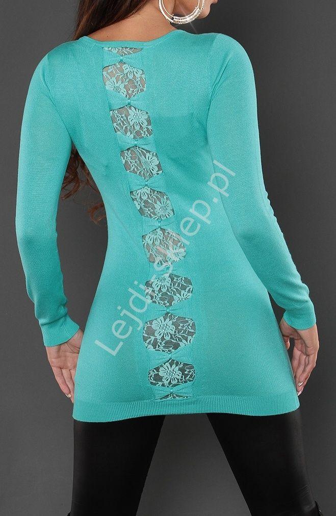 Ciepła tunika zdobiona koronką z małymi kokardami na plecach, turkusowa wpadająca w kolor miętowy 8083