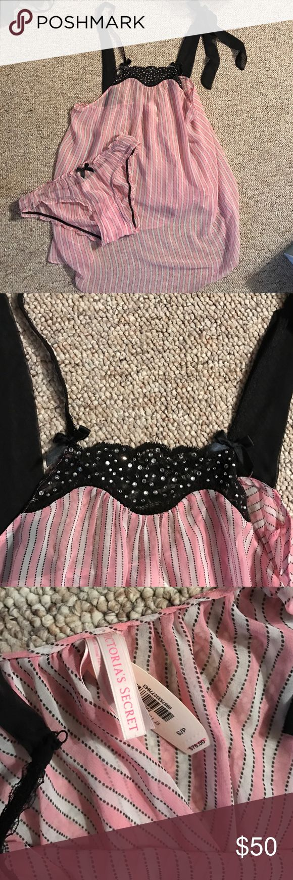 Victoria'sSecret baby doll embellished pink  black Gorgeous set brand-new never worn with tags attached Victoria's Secret Intimates & Sleepwear Chemises & Slips