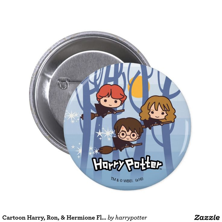 Cartoon Harry, Ron, & Hermione Flying In Woods. Regalos, Gifts. #chapa #button