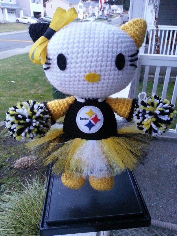 Pittsburgh Steelers Hello Kitty crochet doll. Medium size. Avail  www.facebook.com/ravelmethis