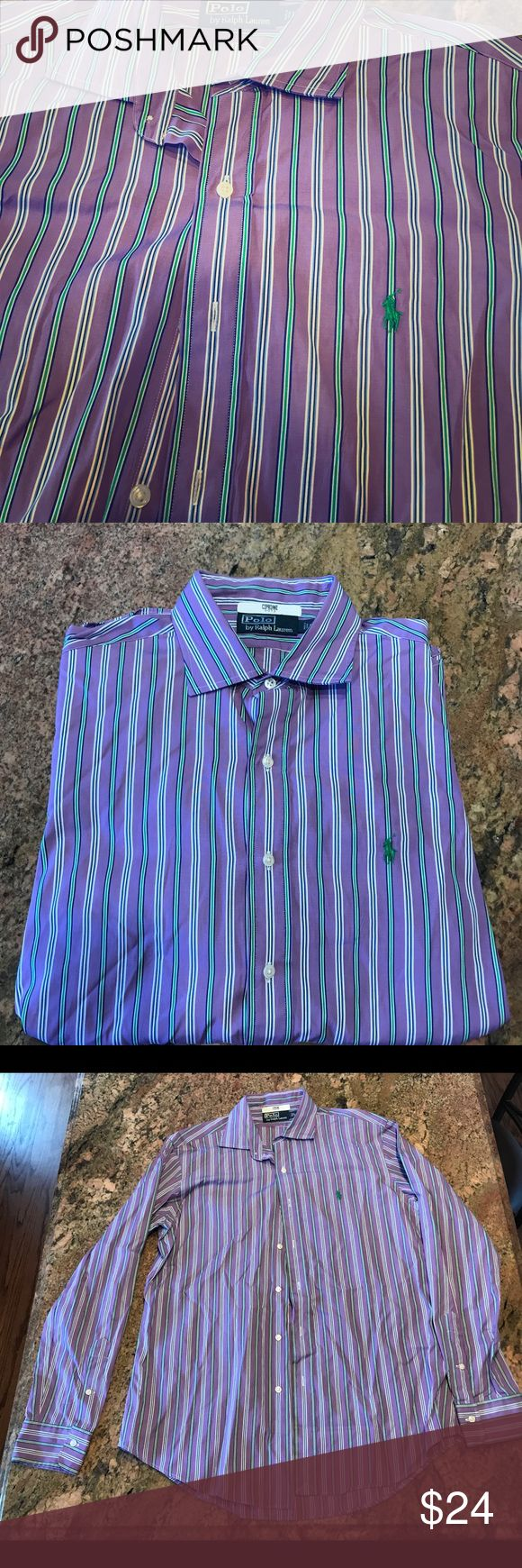 Polo Ralph Lauren Men's Large Dress Shirt Purple Handsome and classy Purple striped Men's Polo dress shirt with green pony. This is beautifully colored is comfortable, no defects, smoke free home. 100% Cotton. Sleeves 26.5 inches from shoulder seam, 28.5 inches from neck top button to waist, 24 inch waist. Thank you for stopping by and looking around! Polo by Ralph Lauren Shirts Dress Shirts