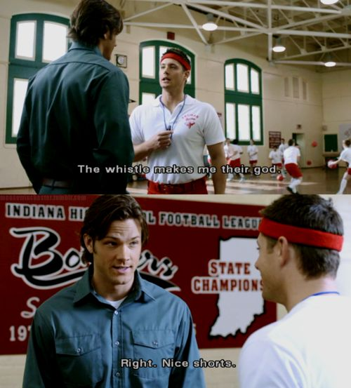 Supernatural!! Dean in gym shorts! does not matter what dean wears he is hot!