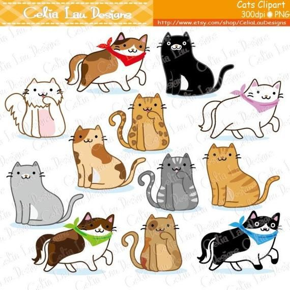 Cat Clipart Kitten Clipart Cute Cats Clip Art Kitty Clipart A019 For Personal And Commercial Use Instant Download Cat Clipart Cat Drawing Cat Doodle