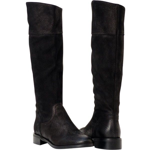 PAOLO IANTORNO Jodie Black Knee High Leather Boots ($329) ❤ liked on Polyvore featuring shoes, boots, black, black knee-high boots, black leather boots, real leather knee high boots, black leather knee high boots and flat knee high boots