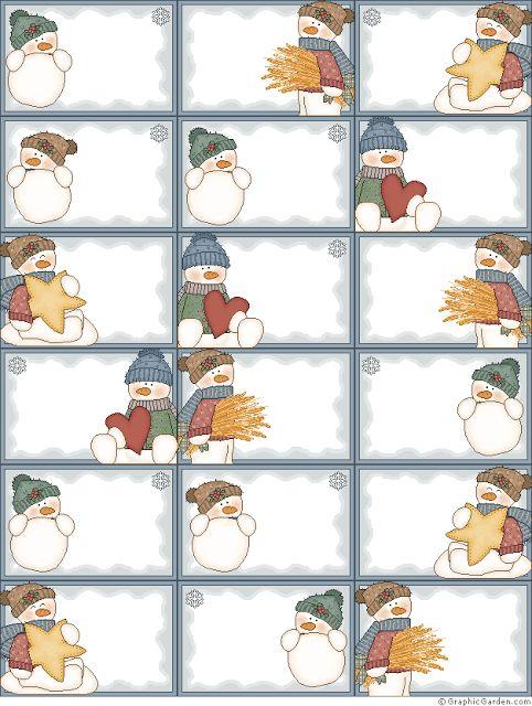Muñecos de Nieve: Marcos, Etiquetas, Caja y Tarjetas para Imprimir Gratis.
