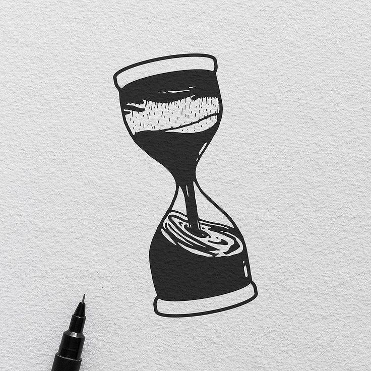 Flood of time.  #illustration #tattoo #hourglass