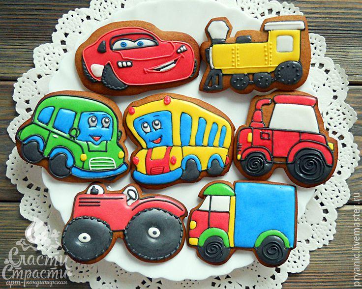 """Купить Пряники """"Машинки"""" - ярко-красный, пряничные машинки, пряник машинка, машинка пряник, тачки"""
