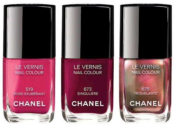 Осенне-зимняя коллекция Шанель 2015 — Chanel Rouge Allure Collection Fall-Winter 2015 Лак для ногтей Chanel Le Vernis 519 Rose Exuberant 673 Singuliere 675 Troublante