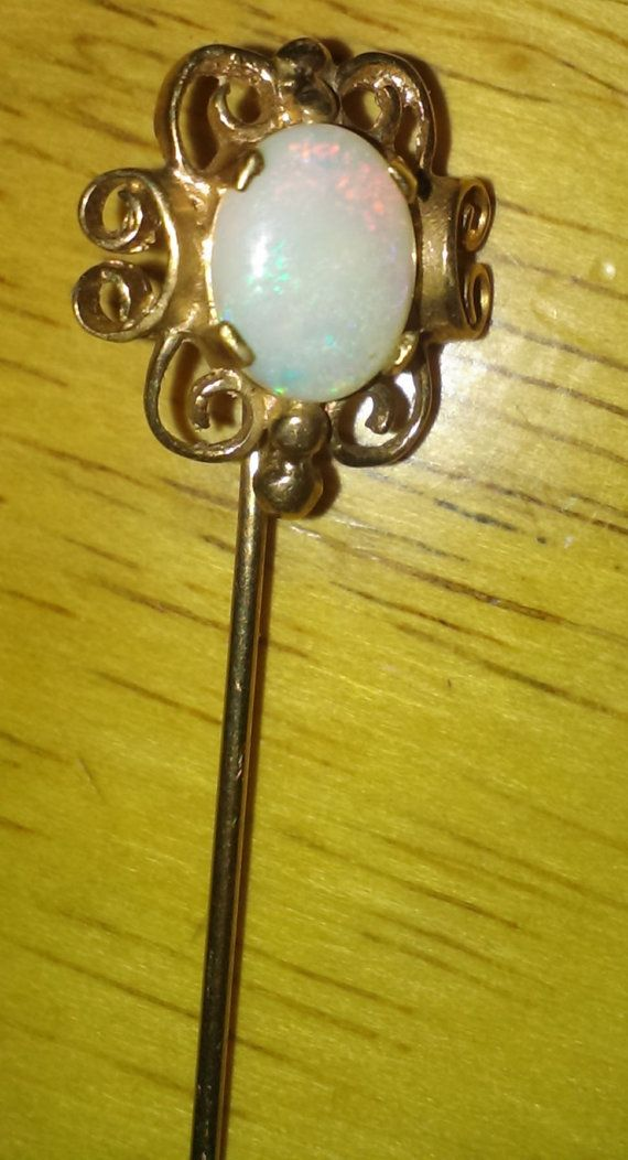 9K Gold Natural FIRE OPAL VICTORIAN Filigree by ArtsyMysticDesigns, $120.00