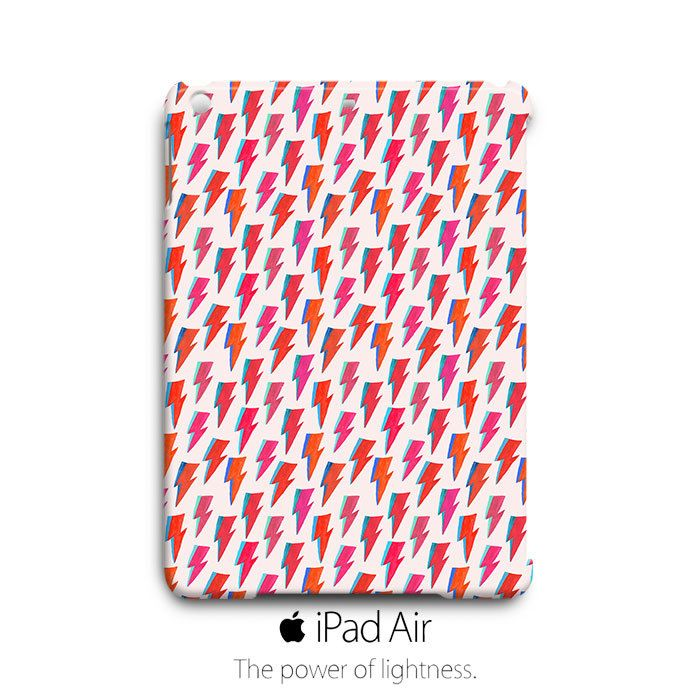 Orange Pink Red Lightning Pattern iPad Air Case Cover Wrap Around