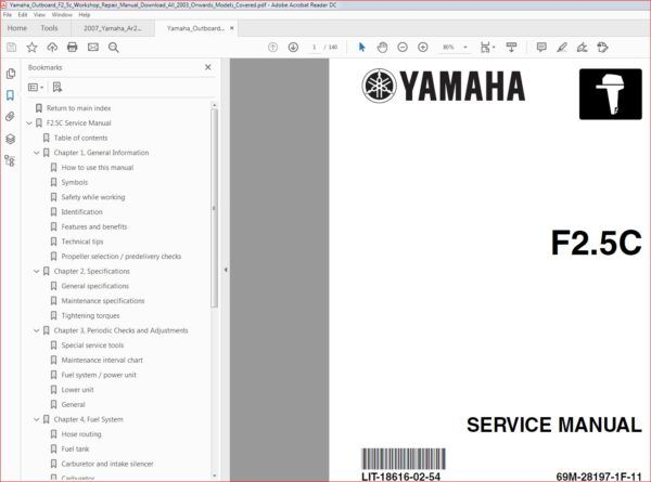 Yamaha Outboard F2 5c Workshop Repair Manual Download 2003 In 2020 Repair Manuals Manual Outboard