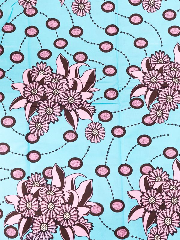 African Fabrics Suppliers Real Wax Blue Coffee Pink Flower