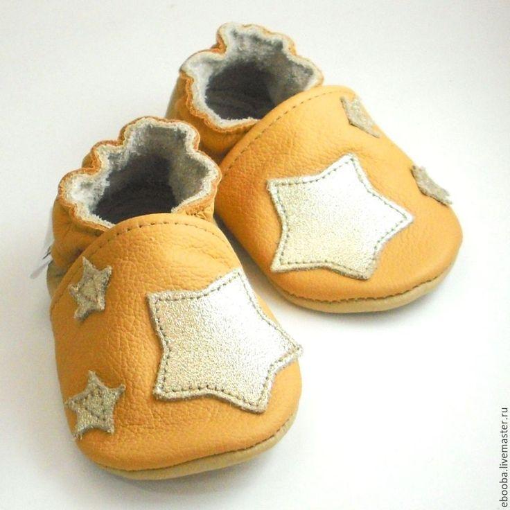 Leather baby's bootees / Чешки тапочки пинетки золотые звезды на желтом ebooba 0 6 мес - рисунок