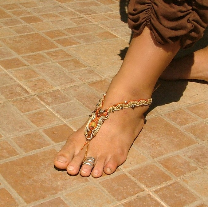 765b3b234 Macrame barefoot sandal ANKLET beaded in a gorgeous pattern