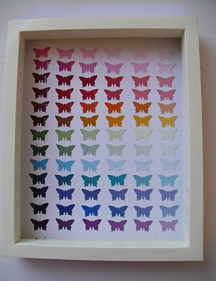 Ombre Paint Chip Butterfly Punch Art