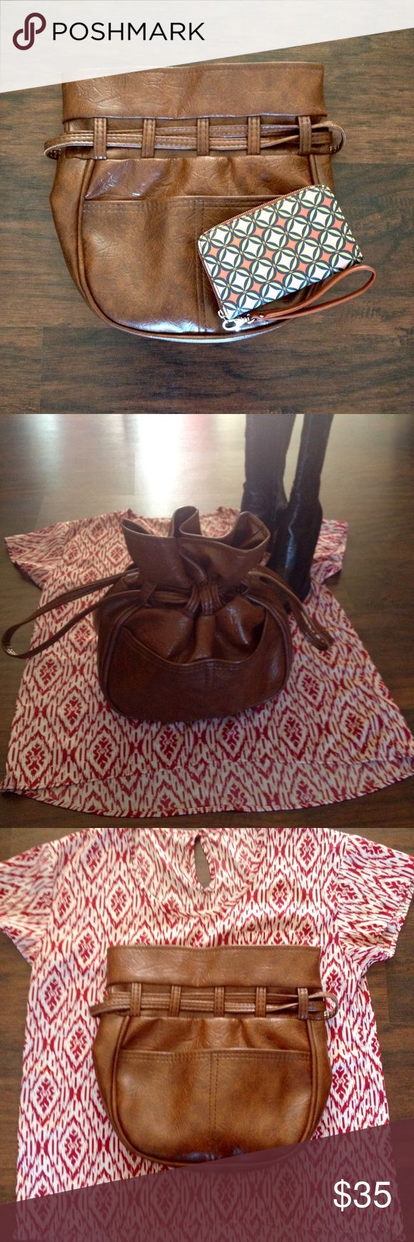 """Vintage TEX-MADE  Handbag Straight out of Houston, TX- this great little drawstring  bag is in EXCELLENT condition. Shown with the Fossil """"Sydney"""" Wallet and the Antonio Melani Embossed Boots. Tex-Made Bags Satchels"""