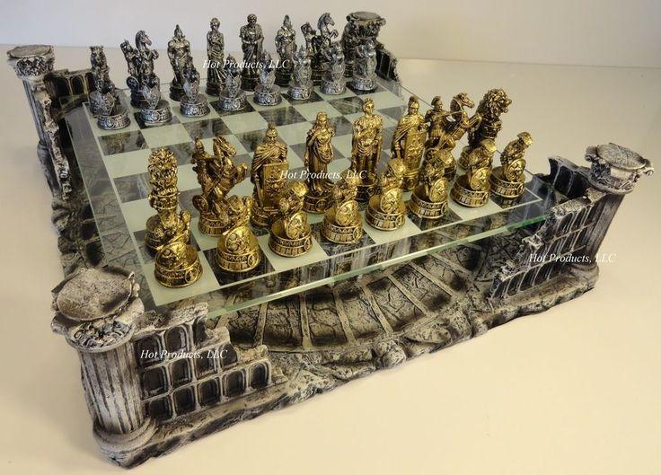 Metal pewter roman gladiator medieval times chess set glass board chess sets medieval - Medieval times chess set ...