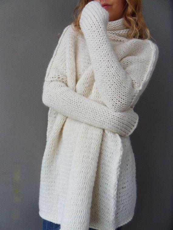 Oversized/Slouchy/Loose knit sweater. Chunky knit women by LeRosse