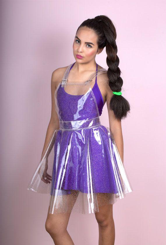 Clair paillettes holographiques vinyle ensemble robe