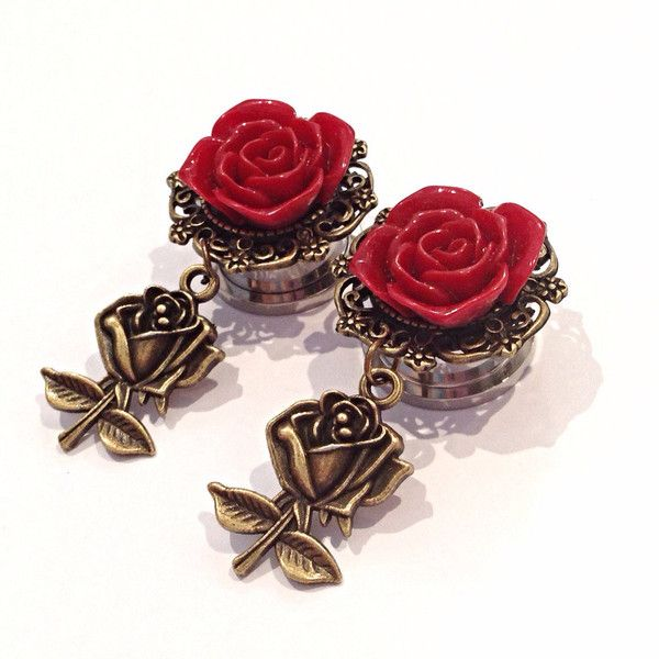 Beauty and The Beast Inspired Rose Ear Plugs ($22) ❤ liked on Polyvore featuring jewelry, earrings, plugs, body jewelry, flowers, flower jewelry, rose flower earrings, rose jewelry and filigree jewelry