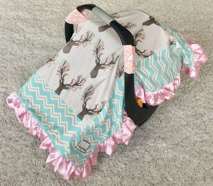 Coral Floral, Mint and Gold Chevron, and Girly Stag Attachable Car Seat Blanket