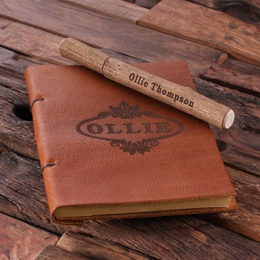 Rustic Wooden Pen and Brown Leather Travel Journal | Zazzle.com