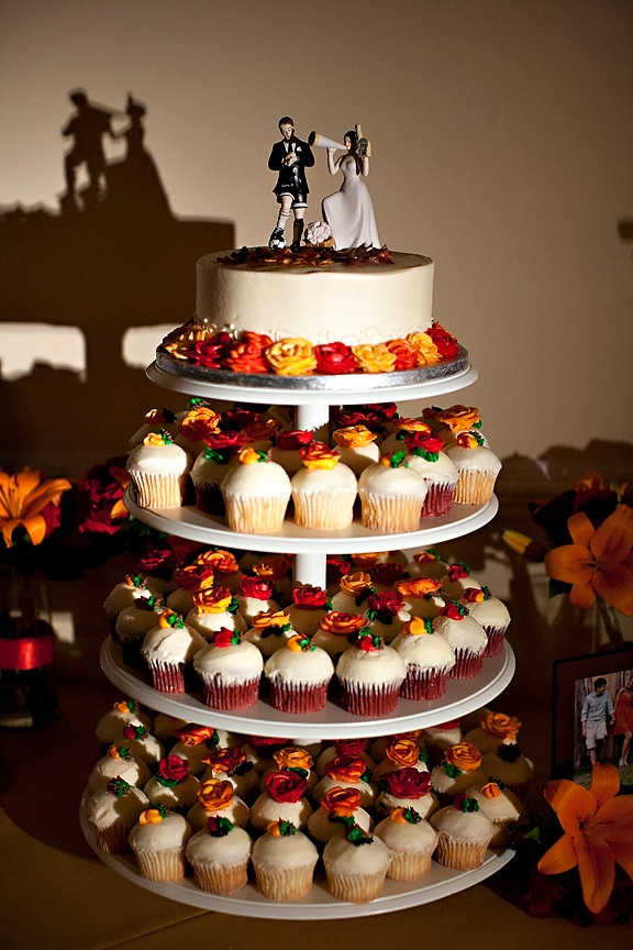 cupcakes instead of wedding cake small cake and cupcake tower instead of traditional 13145