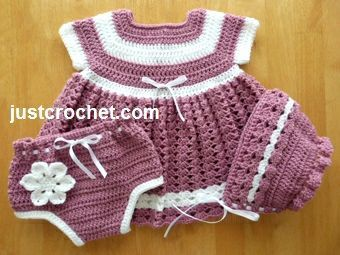 Free baby crochet pattern for dress, knickers & bonnet http://www.justcrochet.com/dress-knickers-bonnet-usa.html #justcrochet