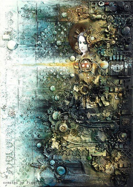 Imaginative art made by using spare computer parts by Anna Dabrowska, a.k.a. Finnabair