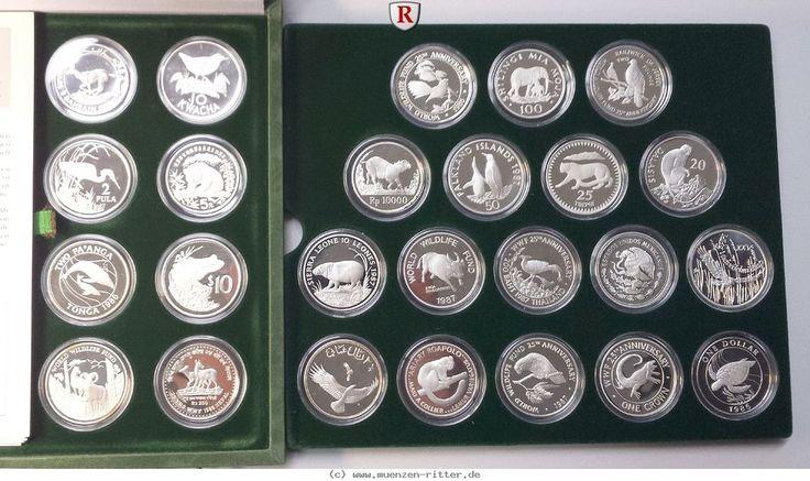 RITTER WWF Münzsammlung zum 25. Jubiläum, 25 Silbermünzen, PP #coins