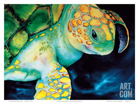 Timeless Wisdom, Hawaiian Sea Turtle Art Print by Ari Vanderschoot at Art.com