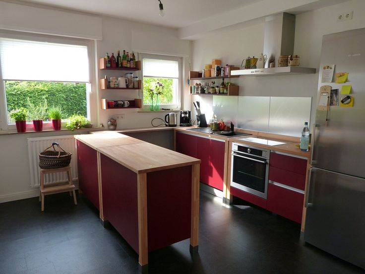 Superb bloc kitchen beech wood painted red brick K che K cheninsel kitchenisland